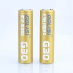 Authentic Golisi G30 IMR 18650 3000mAh 3.7V 25A Flat Top Rechargeable Battery - Gold (2 PCS)