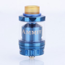 Authentic GeekVape Ammit Dual Coil Version RTA Rebuildable Atomizer - Blue, Stainless Steel + Glass, 3ml / 6ml, 27mm Diameter