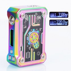 Authentic Tesla Punk 220W TC VW Variable Wattage Box Mod - Rainbow, Zinc Alloy + ABS + PC, 7~200W, 2 x 18650