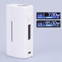 Authentic Tesla WYE 85W TC VW Variable Wattage Box Mod - White, ABS + PC, 7~85W, 1 x 18650