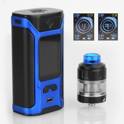 Authentic Wismec SINUOUS RAVAGE230 230W TC VW Mod + GNOME Evo Tank Kit - Black + Blue, 1~230W, 2 x 18650, 25mm Diameter