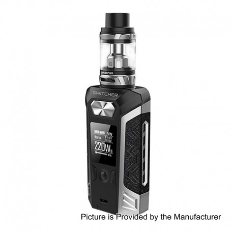 Authentic Vaporesso Switcher 220W TC VW Variable Wattage Mod + NRG Tank Kit - Silver, 2 x 18650, 5ml, 26.5mm Diameter