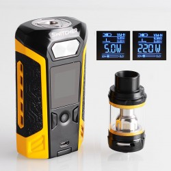 Authentic Vaporesso Switcher LE 220W TC VW Variable Wattage Mod + NRG Tank Kit - Yellow, 2 x 18650, 5ml, 26.5mm Diameter