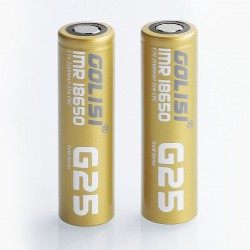 Authentic Golisi G25 IMR 18650 2500mAh 3.7V 25A Flat Top Rechargeable Battery - Gold (2 PCS)