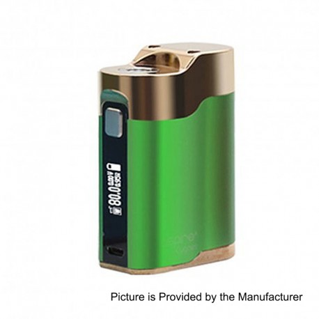 Authentic Aspire Cygnet 80W VW Variable Wattage Box Mod - Green + Gold, Aluminum + Stainless Steel, 1~80W, 1 x 18650