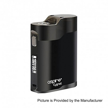 Authentic Aspire Cygnet 80W VW Variable Wattage Box Mod - Black + Grey, Aluminum + Stainless Steel, 1~80W, 1 x 18650