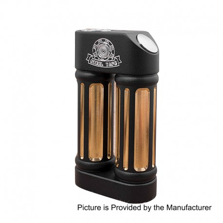 Authentic Steel Vape Sanctuary Mechanical Box Mod - Black, Aluminum + Brass + Stainless Steel, 2 x 18650