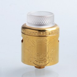 Vulcan Style RDA Rebuildable Dripping Atomizer w/ BF Pin - Gold, Stainless Steel, 24mm Diameter