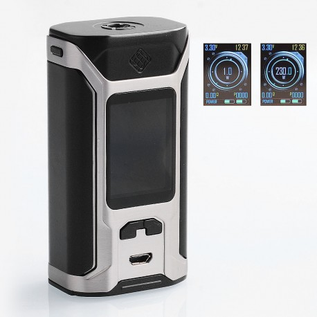 Authentic Wismec SINUOUS RAVAGE230 230W TC VW Variable Wattage Box Mod - Black + Silver, 1~230W, 2 x 18650