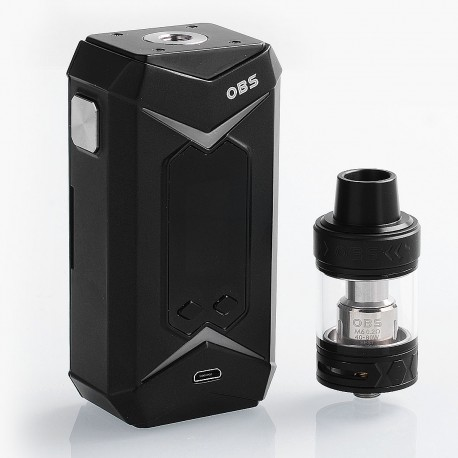 Authentic OBS Bat 218W TC VW Variable Wattage Box Mod + Damo Tank Kit - Black, 7~218W, 2 x 18650, 5ml, 25mm Diameter