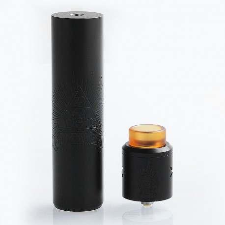 Barebones Style Hybrid Mechanical Mod + Unholy V2 Style RDA Kit - Black, Stainless Steel, 1 x 18650 / 20700, 26mm Diameter