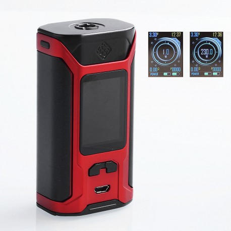 Authentic Wismec SINUOUS RAVAGE230 230W TC VW Variable Wattage Box Mod - Black + Red, 1~230W, 2 x 18650