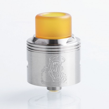 Authentic Coppervape Hippo RDA Rebuildable Dripping Atomizer w/ BF Pin - Silver, 316 Stainless Steel, 24mm Diameter