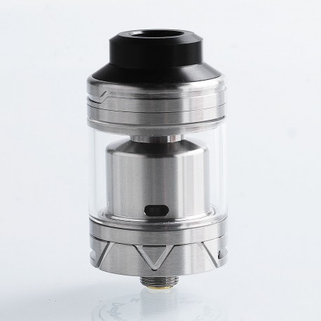 Authentic Coolvapor Lava RTA Rebuildable Tank Atomizer - Silver, Stainless Steel + Glass, 3ml, 24mm Diameter