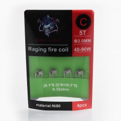 Authentic Demon Killer Raging Fire Coil C Ni80 Heating Wire - (0.1 x 0.3) x 8 + (0.1 x 5), 0.32 Ohm (4 PCS)
