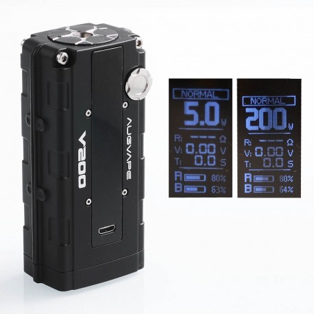 Authentic Augvape V200W TC VW Variable Wattage Box Mod - Black, Zinc Alloy, 5~200W, 2 x 18650