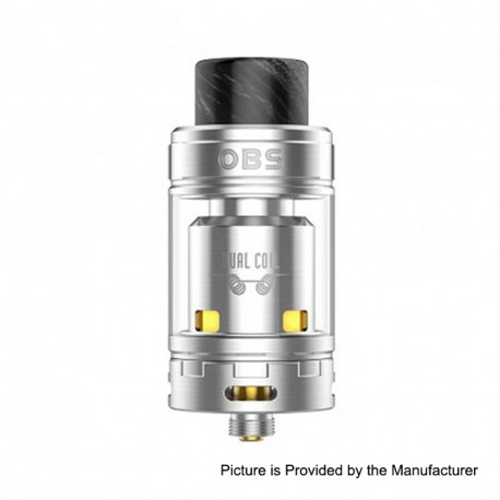 Authentic OBS Crius II RTA Rebuildable Tank Atomizer Dual Coil Version - Silver, Stainless Steel, 4ml, 25mm Diameter