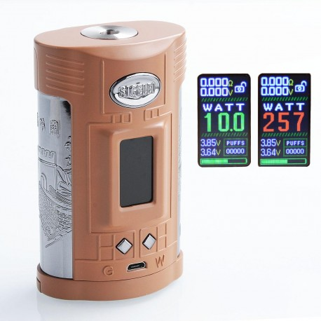 Authentic Sigelei GW 257W TC VW Variable Wattage Mod - Coffee + Gun Metal, Zinc Alloy + Stainless Steel, 10~257W, 2 x 18650