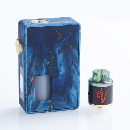 Authentic VBS Iron Surface Squonk Mechanical Box Mod + Vivid RDA Kit - Blue, Resin, 7ml, 1 x 18650 / 20700, 24mm Diameter