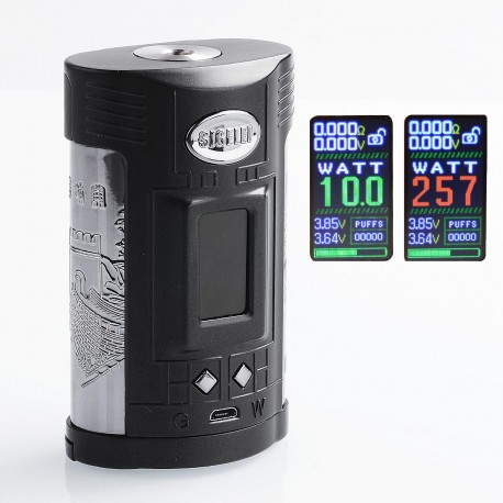 Authentic Sigelei GW 257W TC VW Variable Wattage Mod - Black + Gun Metal, Zinc Alloy + Stainless Steel, 10~257W, 2 x 18650