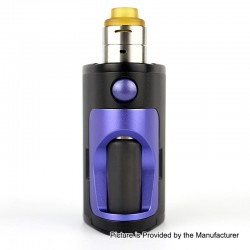 Authentic Dovpo Armour 130W Squonk Box Mod + BF RDA Kit - Black + Purple, Aluminum + Stainless Steel, 2 x 18650, 22mm Diameter