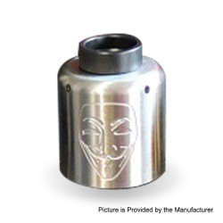 Authentic Timesvape Mask RDA Rebuildable Dripping Atomizer w/ BF Pin - Silver, Stainless Steel, 30mm Diameter