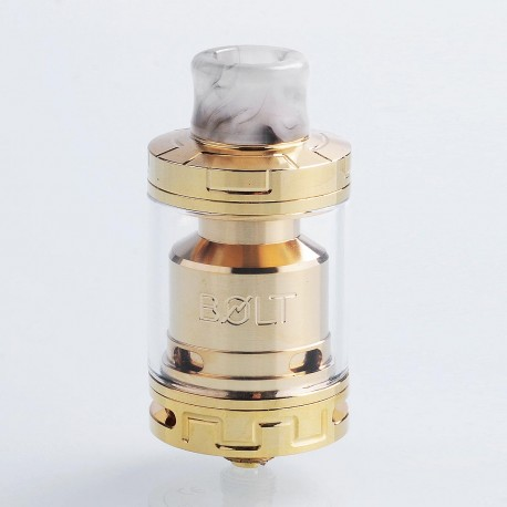 Authentic Godria Bolt RTA Rebuildable Tank Atomizer - Gold, Stainless Steel, 2ml, 24mm Diameter