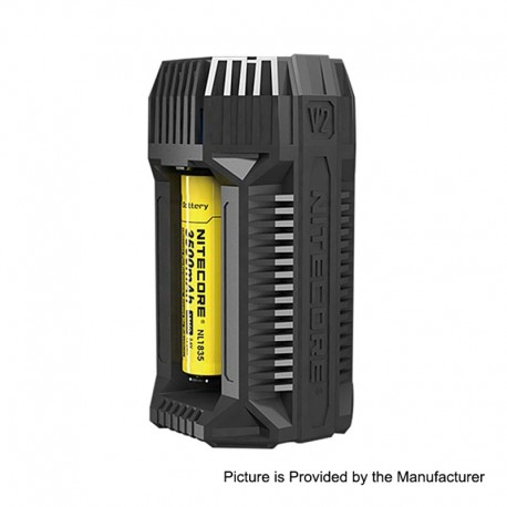 Authentic Nitecore V2 6A In-car Speedy Battery Charger for 18650 / 20700 / 26650 Battery - Black, 2 x Battery Slots