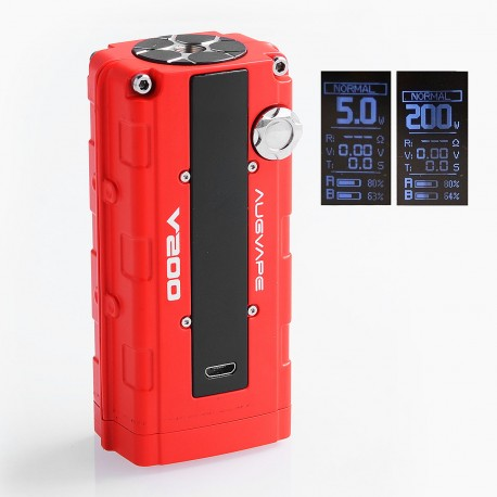 Authentic Augvape V200W TC VW Variable Wattage Box Mod - Red, Zinc Alloy, 5~200W, 2 x 18650