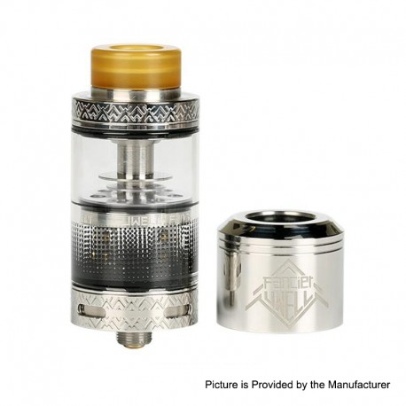 Authentic Uwell Fancier RTA / RDA Rebuildable Dripping Tank Atomizer - Silver, Stainless Steel, 4ml, 24mm Diameter