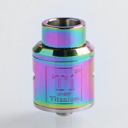 Goon Ti Style RDA Rebuildable Dripping Atomizer w/ BF Pin - Rainbow, Stainless Steel, 24mm Diameter