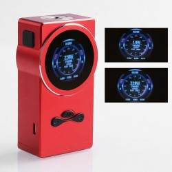 Authentic Hugo Vapor Delux 220W TC VW Variable Wattage Box Mod - Red, Aluminum + Stainless Steel, 1~220W, 2 x 18650
