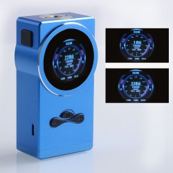 Authentic Hugo Vapor Delux 220W TC VW Variable Wattage Box Mod - Blue, Aluminum + Stainless Steel, 1~220W, 2 x 18650