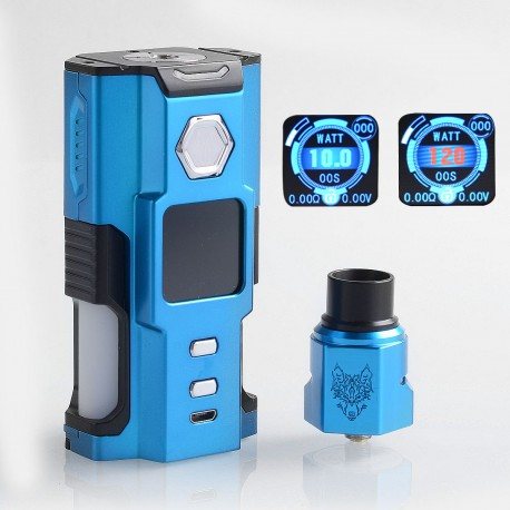 Authentic Sigelei Snowwolf Vfeng Squonk 120W TC VW Box Mod + BF RDA Kit - Blue, 10~120W, 6ml, 1 x 18650 / 20700 / 21700
