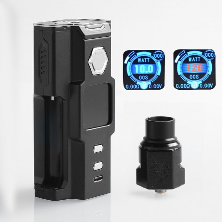 Authentic Sigelei Snowwolf Vfeng Squonk 120W TC VW Box Mod + BF RDA Kit - Black, 10~120W, 6ml, 1 x 18650 / 20700 / 21700