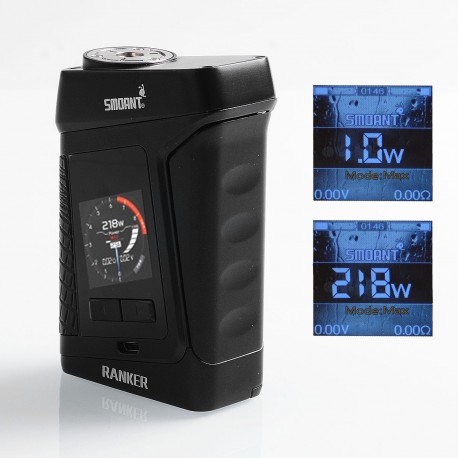 Authentic Smoant Ranker 218W TC VW Variable Wattage Box Mod - Black, 1~218W, 2 x 18650
