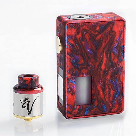 Authentic VBS Iron Surface Squonk Mechanical Box Mod + Vivid RDA Kit - Red, Resin, 7ml, 1 x 18650 / 20700, 24mm Diameter