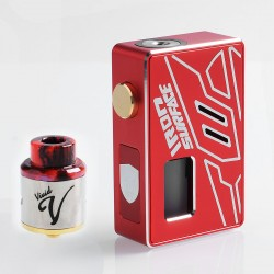Authentic VBS Iron Surface Squonk Mechanical Box Mod + Vivid RDA Kit - Red, Aluminum, 7ml, 1 x 18650 / 20700, 24mm Diameter