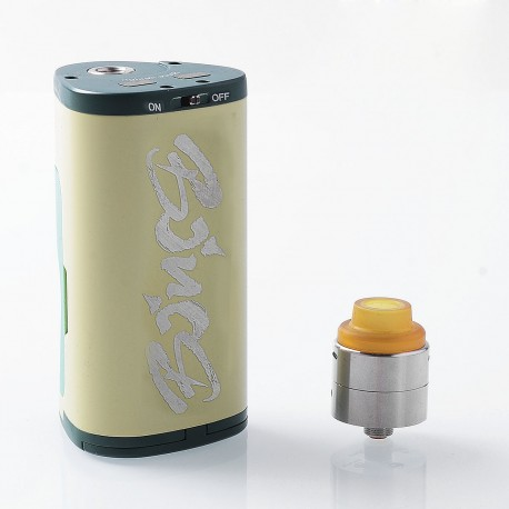 Authentic Dovpo Armour 130W Squonk Box Mod + BF RDA Kit - Yellow + Green, Aluminum + Stainless Steel, 2 x 18650, 22mm Diameter