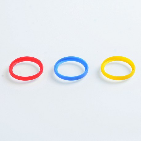 Authentic GAS Mods Decorative Ring for 22mm Diameter RDA / RTA / Sub Ohm Tank - Red + Blue + Yellow, POM (3 PCS)