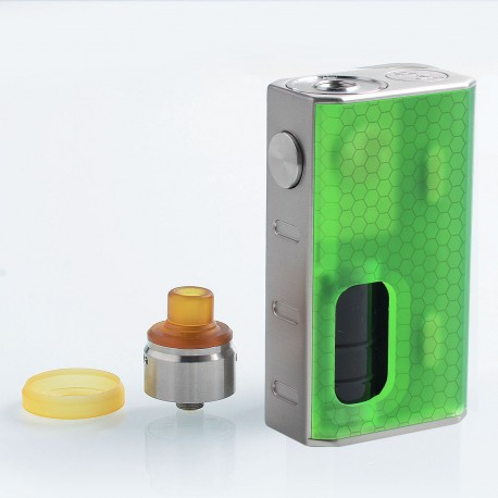 Authentic Wismec Luxotic 100W Squonk Box Mod + Tobhino BF RDA Kit - Green Honeycomb, 7.5ml, 1 x 18650, 22mm Diameter