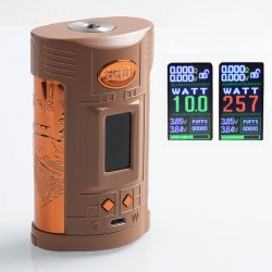 Authentic Sigelei GW 257W TC VW Variable Wattage Mod - Coffee + Gold, Zinc Alloy + Stainless Steel, 10~257W, 2 x 18650