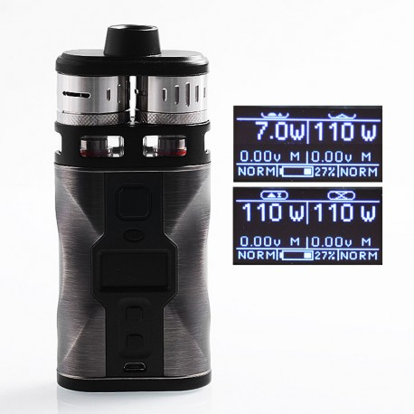Authentic Tesla CP Couples 220W TC VW Variable Wattage Box Mod + RDTA Kit - Gun Metal, 2 x 18650, 8ml