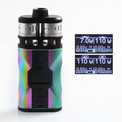 Authentic Tesla CP Couples 220W TC VW Variable Wattage Box Mod + RDTA Kit - Rainbow, 2 x 18650, 8ml