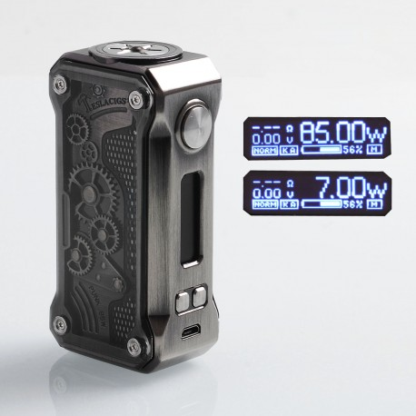 Authentic Tesla Punk Mini 85W TC VW Variable Wattage Box Mod - Gun Metal, Zinc Alloy + ABS + PC, 7~85W, 1 x 18650