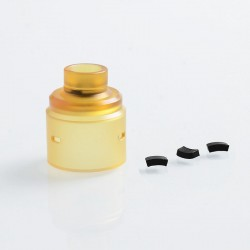 Replacement 510 Drip Tip + Top Cap Kit for Entheon Style RDA - Yellow, PEI