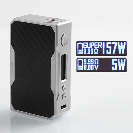 Authentic Voopoo Drag 157W TC VW Variable Wattage Box Mod - Silver + Matte Black, Zinc Alloy + Carbon Fiber, 5~157W, 2 x 18650
