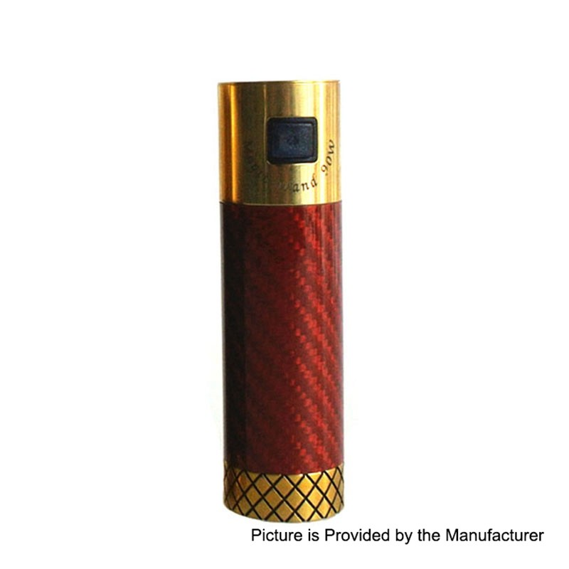 Authentic Marvec Magic Wand 90W Tube Mod - Red, Carbon Fiber + Brass, 1 x  18650
