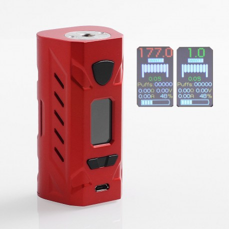 Authentic Hotcig G177 177W TC VW Variable Wattage Box Mod - Red, Zinc Alloy, 1~177W, 2 x 18650