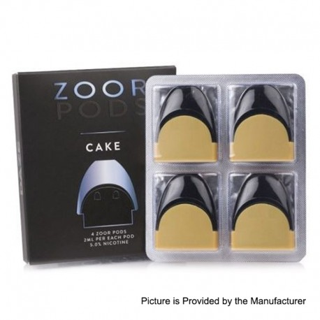 Authentic Zoor Replacement Pod Cartridges for Zoor Portable Device - Cake Flavor, 2ml, 5mg/ml (4 PCS)